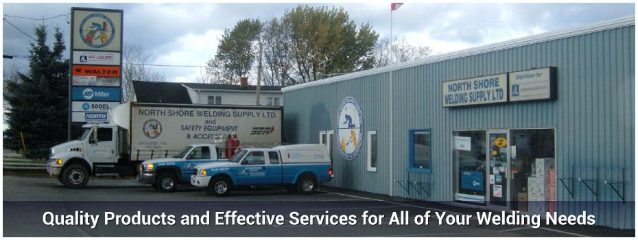 Quality Products and Effective Services for All of Your Welding Needs - Three trucks parked outside our shop in Bathurst